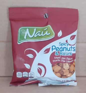 Snack Mani/Pasa con Chile Nau Bolsa 70 grs