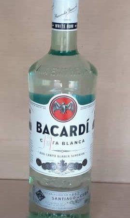 Ron Carta Blanca Bacardi botella 980 mL