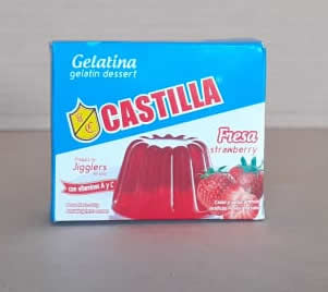 Gelatina Fresa Castilla Caja 85 grs, Con vitaminas A y C