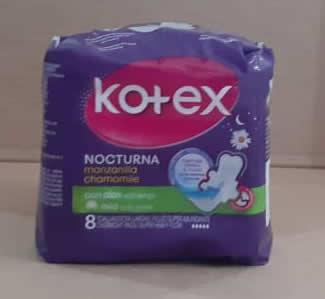 Kotex Nocturna manzanilla 8 toallas
