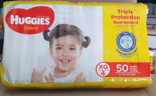 PAÑALES HUGGIES CLASSIC XG/4 50 UNIDADES