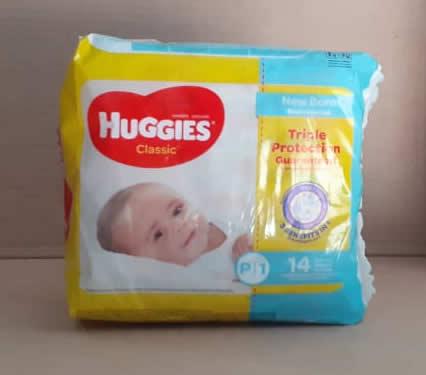 Pañales Huggies Classic P/1 7.5-13 libras 14 unidades