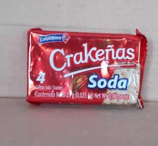 Galleta crakeña soda individual de 25g, galleta libre de Grasas Trans y colesterol