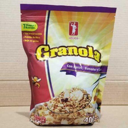Granola Helios Con pasas, banano y coco 400 g (14.11 onzas)