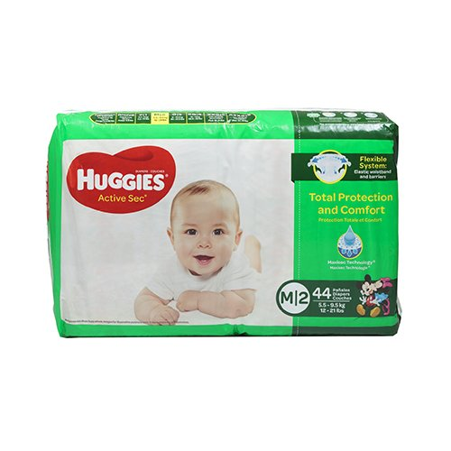 Pañales Huggies Active Sec M/2 (12-21 Libras 44 pañales)