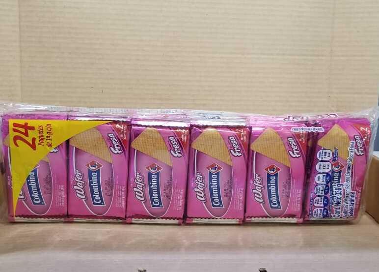 Galleta Colombiana Fresa Wafer Paquete 12 unidades