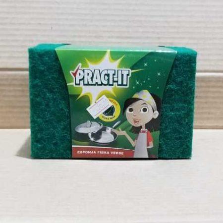Esponja PRACT-IT fibra verde 12 unidades